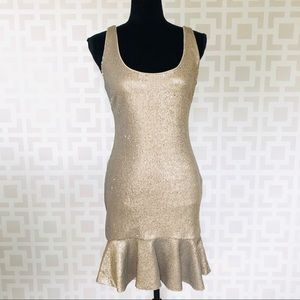 Bebe Gold Sequined Bodycon Tank Dress M